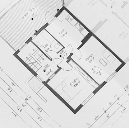 Log house drawing