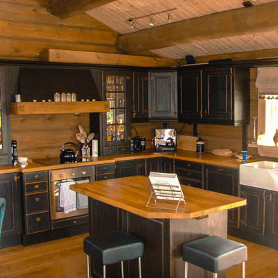 Log home interior finish